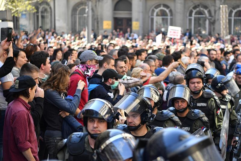 Riot police were on hand as protesters massed outside Serbia's presidential building ahead of a speech by the country's leader Aleksandar Vucic
