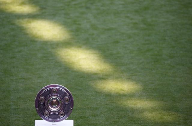 Soccer Football - Bundesliga - Bayern Munich v VfB Stuttgart - Allianz Arena, Munich, Germany - May 12, 2018 General view of the Bundesliga trophy before the match REUTERS/Michaela Rehle DFL RULES TO LIMIT THE ONLINE USAGE DURING MATCH TIME TO 15 PICTURES PER GAME. IMAGE SEQUENCES TO SIMULATE VIDEO IS NOT ALLOWED AT ANY TIME. FOR FURTHER QUERIES PLEASE CONTACT DFL DIRECTLY AT + 49 69 650050