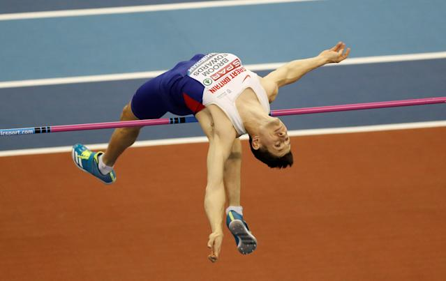 Athletics - British Indoor Championships - Arena Birmingham, Birmingham, Britain - February 18, 2018 Jonathan Broom Edwards in action during the men's high jump final Action Images via Reuters/Matthew Childs