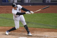New York Yankees' Aaron Judge strikes out on a pitch from Tampa Bay Rays relief pitcher Ryan Yarbrough during the fifth inning of a baseball game, Sunday, April 18, 2021, at Yankee Stadium in New York. (AP Photo/Kathy Willens)