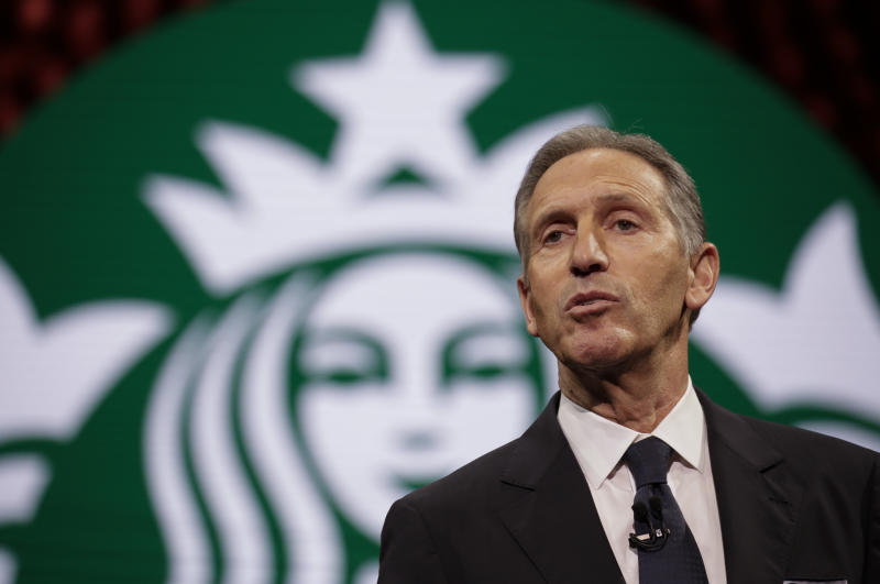 Starbucks Chairman and CEO Howard Schultz speaks at the Annual Meeting of Shareholders in Seattle, Washington on March 22, 2017. / AFP PHOTO / Jason Redmond (Photo credit should read JASON REDMOND/AFP via Getty Images)
