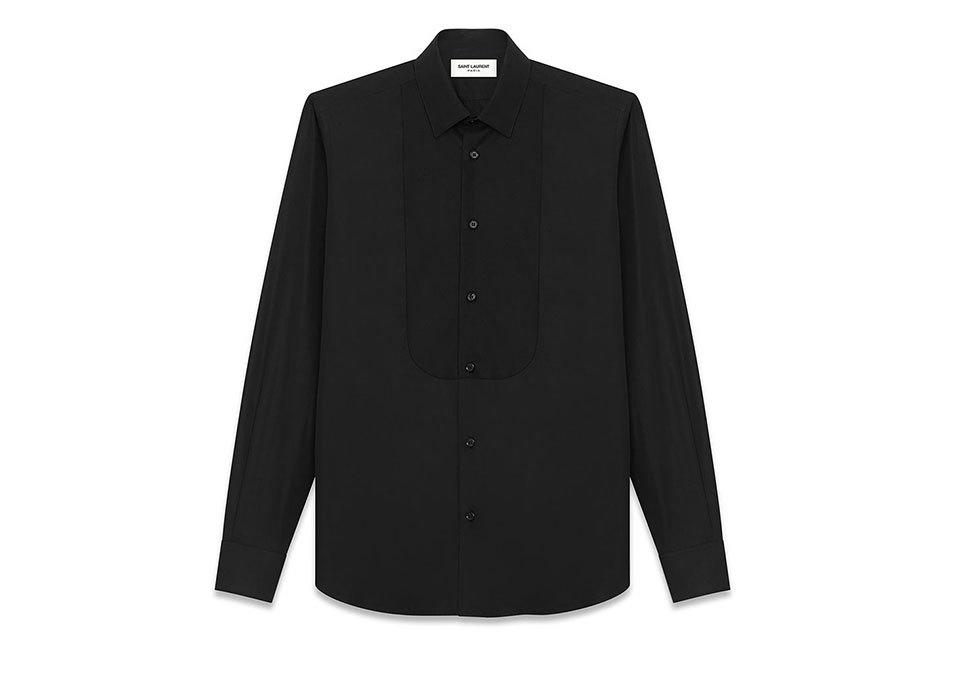 "<p>Saint Laurent Pique Plastron Yves Collar Shirt in Black Cotton Poplin, $725, <a href=""http://www.ysl.com/us/shop-product/men/ready-to-wear-tuxedo-shirts-pique-plastron-yves-collar-shirt-in-black-cotton-poplin_cod38390781pj.html#section=men_permanent"">ysl.com</a></p>"