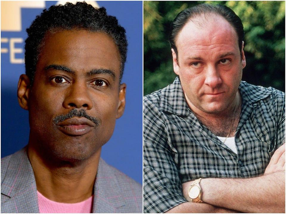 Side-by-side pictures of Chris Rock and James Gandolfini as Tony Soprano.