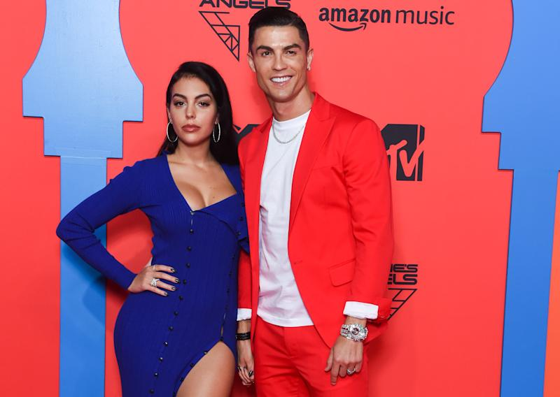 SEVILLE, SPAIN - NOVEMBER 03: Georgina Rodriguez and Cristiano Ronaldo attend the MTV EMAs 2019 at FIBES Conference and Exhibition Centre on November 03, 2019 in Seville, Spain. (Photo by Stephane Cardinale - Corbis/Corbis via Getty Images)