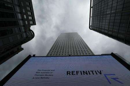 An advertisement for Refinitiv is seen on a screen in London's Canary Wharf financial centre