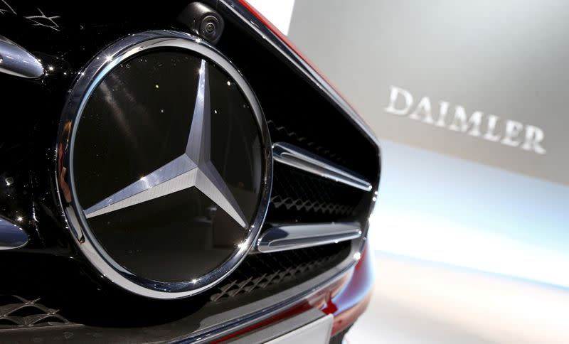 FILE PHOTO: Mercedes-Benz logo pictured before company's annual news conference in Stuttgart