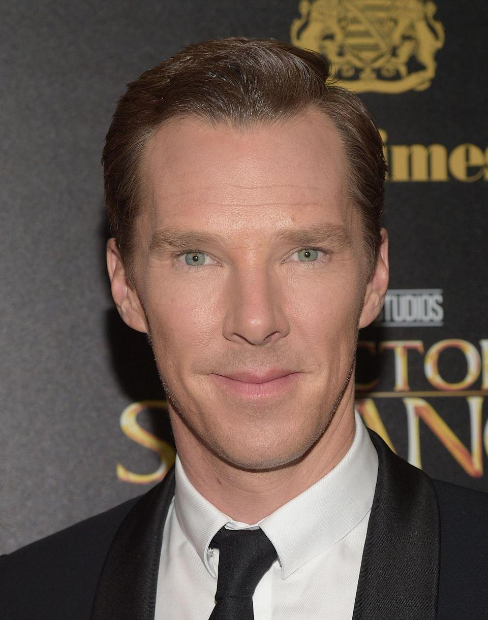 <p>Cumberbatch's intriguing eyes are a combination of blue, green, and gold. They may appear blue or green overall depending on the light.</p>