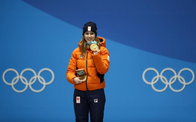 Medals Ceremony - Short Track Speed Skating Events - Pyeongchang 2018 Winter Olympics - Women's 1000m - Medals Plaza - Pyeongchang, South Korea - February 23, 2018 - Gold medalist Suzanne Schulting of the Netherlands on the podium. REUTERS/Kim Hong-Ji
