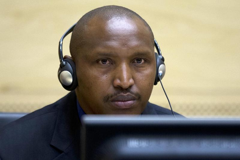 Rwandan-born Congolese warlord Bosco Ntaganda looks on during his first appearance before judges of the International Criminal Court in The Hague, Netherlands, on March 26, 2013