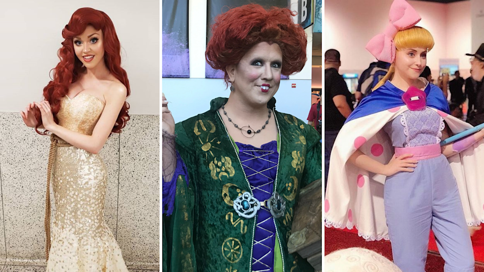 The Little Mermaid, Winifred Sanderson and Bo Peep at D23 expo. Images: Instagram @serenacosplay, Yahoo Finance, Instagram @marinatinker