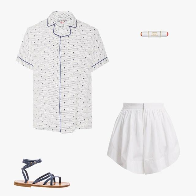 HVN short-sleeved Palm button-down, $395, modaoperandi.com; Tom Ford Shade and Illuminate Glow Stick, $55, sephora.com; Chloé pleated cotton shorts, $950, matchesfashion.com; K.Jacques suede Zenobie sandals, $310, fwrd.com