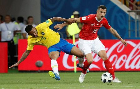 Soccer Football - World Cup - Group E - Brazil vs Switzerland - Rostov Arena, Rostov-on-Don, Russia - June 17, 2018 Switzerland's Granit Xhaka in action with Brazil's Gabriel Jesus REUTERS/Damir Sagolj