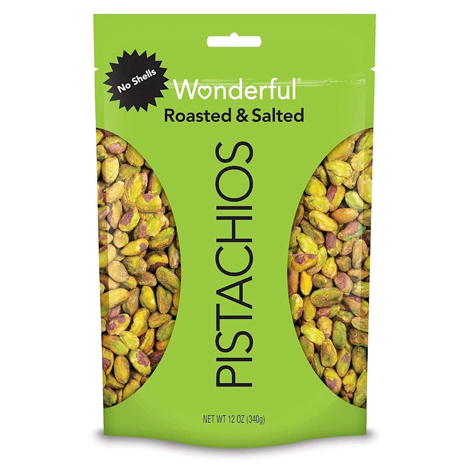 <p>Pistachios are some of my favorite nuts, but I hate having to deal with all the shells. I always keep these <span>Wonderful Pistachios</span> ($10) on hand.</p>