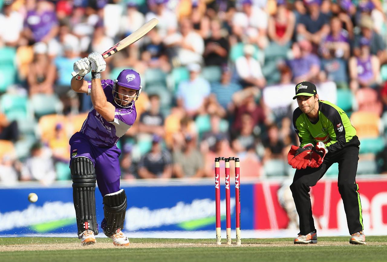 HOBART, AUSTRALIA - DECEMBER 23: Aiden Blizzard of the Hurricanes bats during the Big Bash League match between the Hobart Hurricanes and the Sydney Thunder at Blundstone Arena on December 23, 2012 in Hobart, Australia.  (Photo by Robert Cianflone/Getty Images)