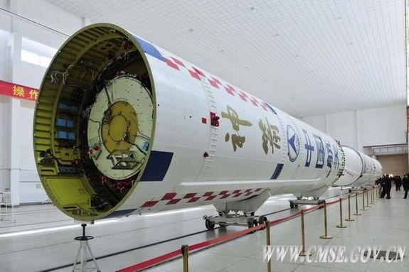 The first- and second-stage launchers of the Long March 2F rocket, which will carry China's crewed Shenzhou 10 spacecraft, are placed at the Jiuquan Satellite Launch Center for further testing in Jiuquan, northwest Gansu province. The Long Marc