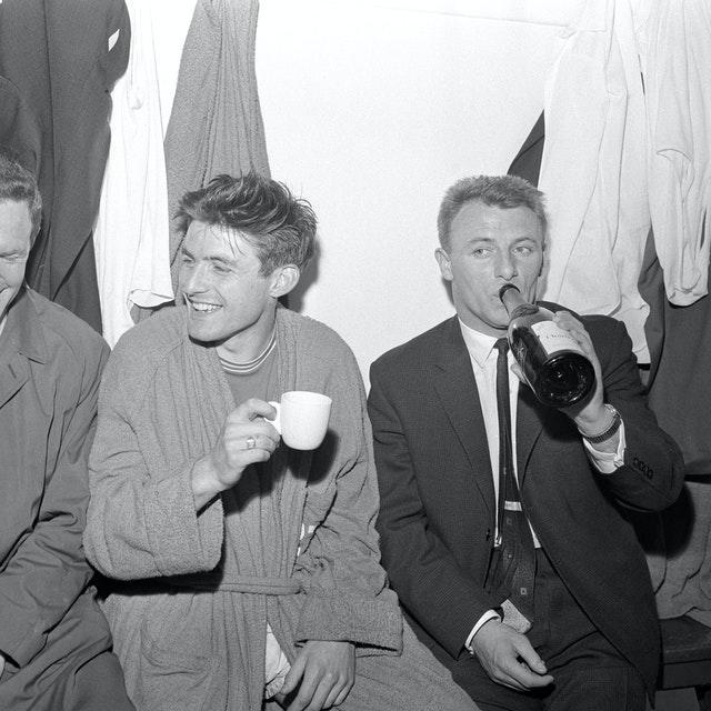 Tommy Docherty celebrates Chelsea's return to Division One