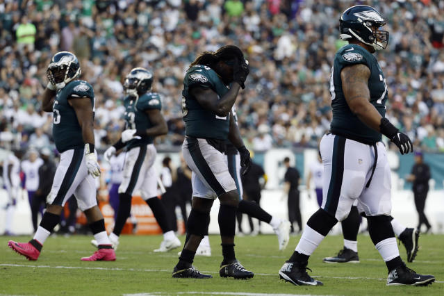 Philadelphia Eagles' Jay Ajayi walks off the field after fumbling during the second half of an NFL football game against the Minnesota Vikings, Sunday, Oct. 7, 2018, in Philadelphia. (AP Photo/Michael Perez)
