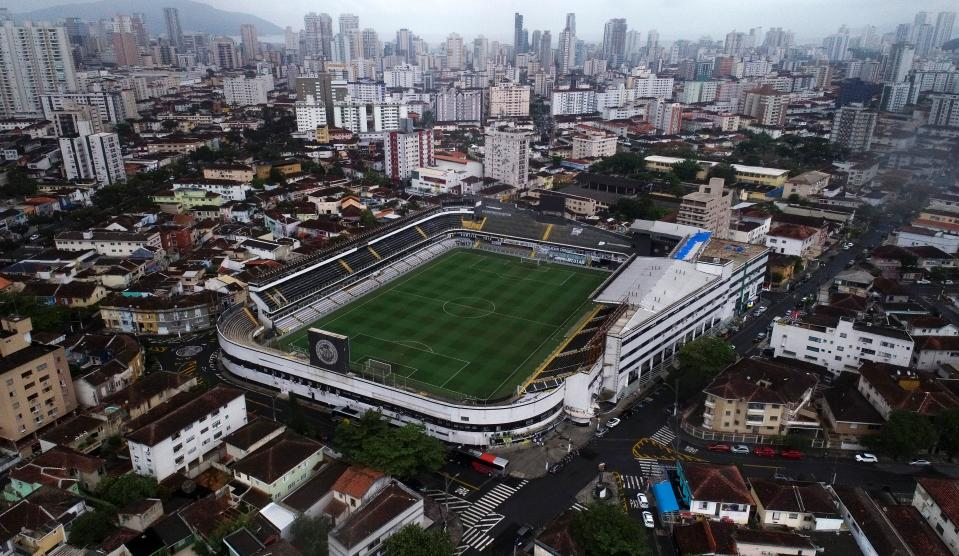 Aerial view of the Vila Belmiro stadium, home of Santos football club, in Santos, Sao Paulo state, Brazil, on October 21, 2020. - Brazilian football legen Edson Arantes do Nascimento, known as Pele, who started his carreer in Santos, turns 80 on October 23, 2020. (Photo by Miguel SCHINCARIOL / AFP) (Photo by MIGUEL SCHINCARIOL/AFP via Getty Images)