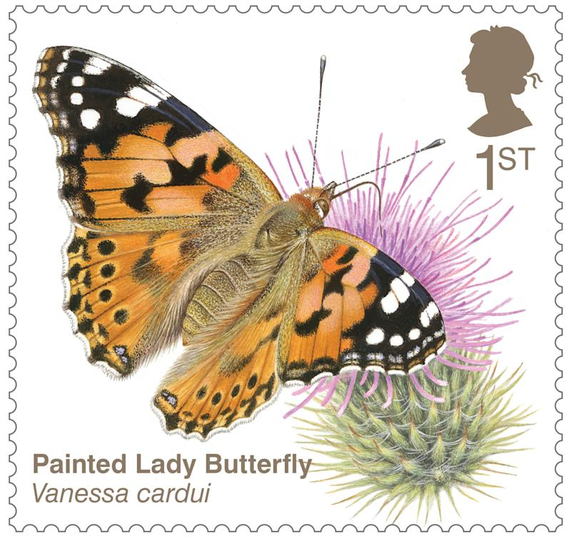Painted lady butterfly stamp