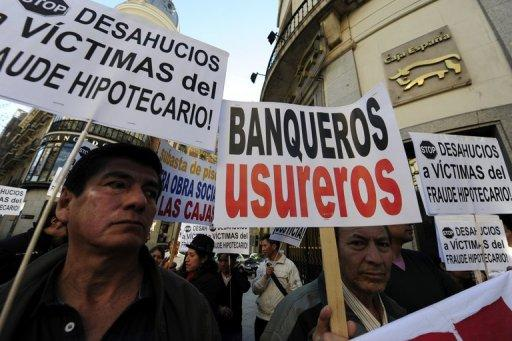 A demonstration in Madrid on Monday against banking practices and housing evictions
