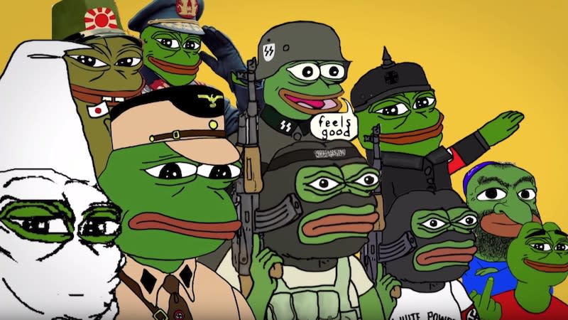 Some of the deplorable versions of Pepe that the alt-right created and spread. Photo: YouTube screengrab