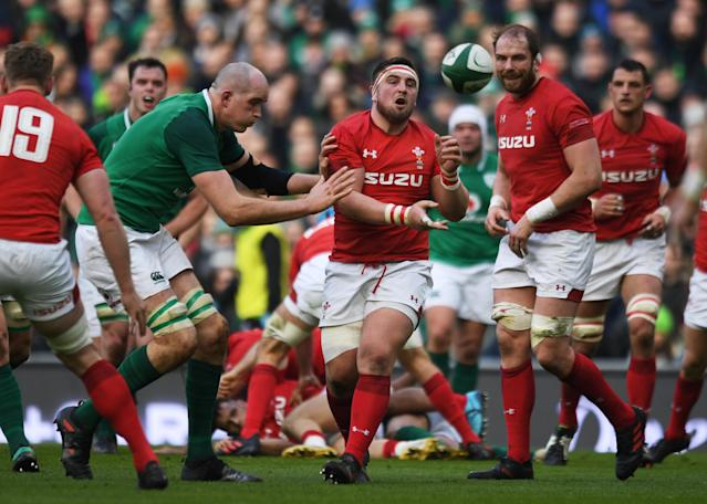 Rugby Union - Six Nations Championship - Ireland vs Wales - Aviva Stadium, Dublin, Republic of Ireland - February 24, 2018 Wales' Wyn Jones in action with Ireland's Devin Toner REUTERS/Clodagh Kilcoyne
