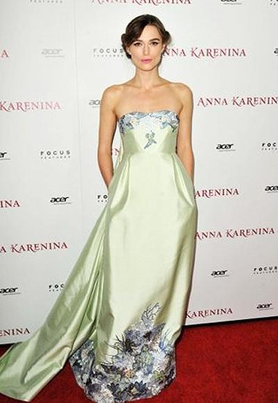 <p><b>Keira Knightley</b></p> <p>The unusual pairing of pale lime pastel green with floral embroidery is just the sort of strange combination we've come to expect from Erdem Moralioglu. Who better to wear his creations than <em>Anna Karenina</em> star Kiera Knightly, whose talent for embodying the women of her period films manifests itself in a similarly unusual yet modern interpretation of each role.</p>