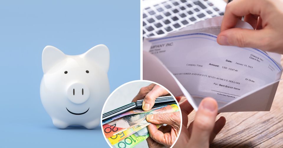 A piggy bank on a sky blue background, a person opening a paycheck and hands removing money from a wallet
