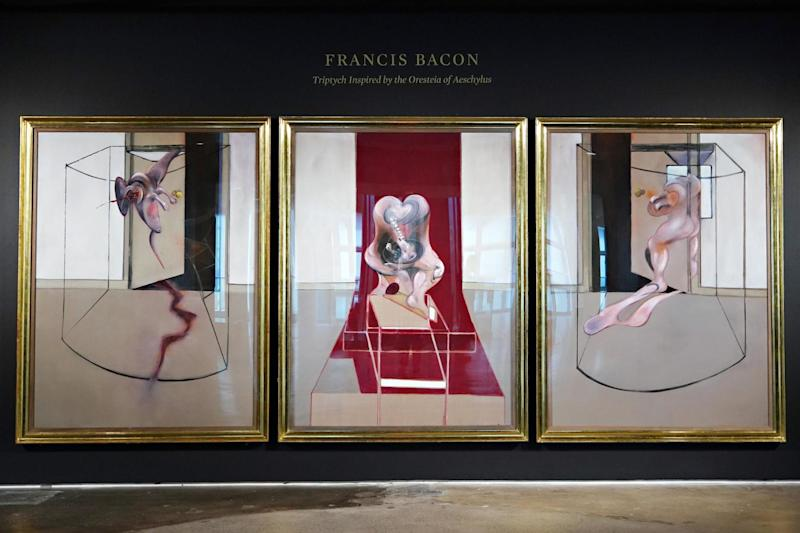 Francis Bacon's 'Triptych Inspired by the Oresteia of Aeschylus' is exhibited during a preview by Sotheby's on 19 June 2020 in New York City: Cindy Ord/Getty Images