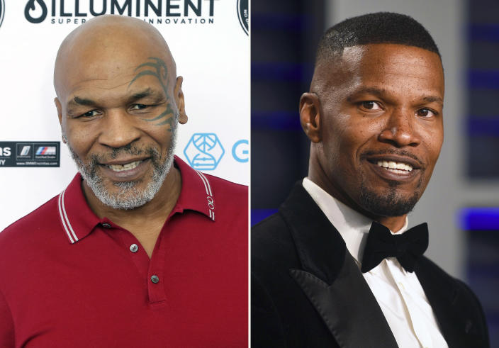 In this combination photo, Mike Tyson, left, attends a celebrity golf tournament on Aug. 2, 2019, in Dana Point, Calif. and Jamie Foxx arrives at the Vanity Fair Oscar Party on Feb. 24, 2019, in Beverly Hills, Calif. Tyson says he's producing a limited series about his life and career. Foxx will play the boxing great in the project that also counts Foxx and filmmaker Martin Scorsese as producers. (Photos by Willy Sanjuan/Invision/AP, left, and Evan Agostini/Invision/AP)