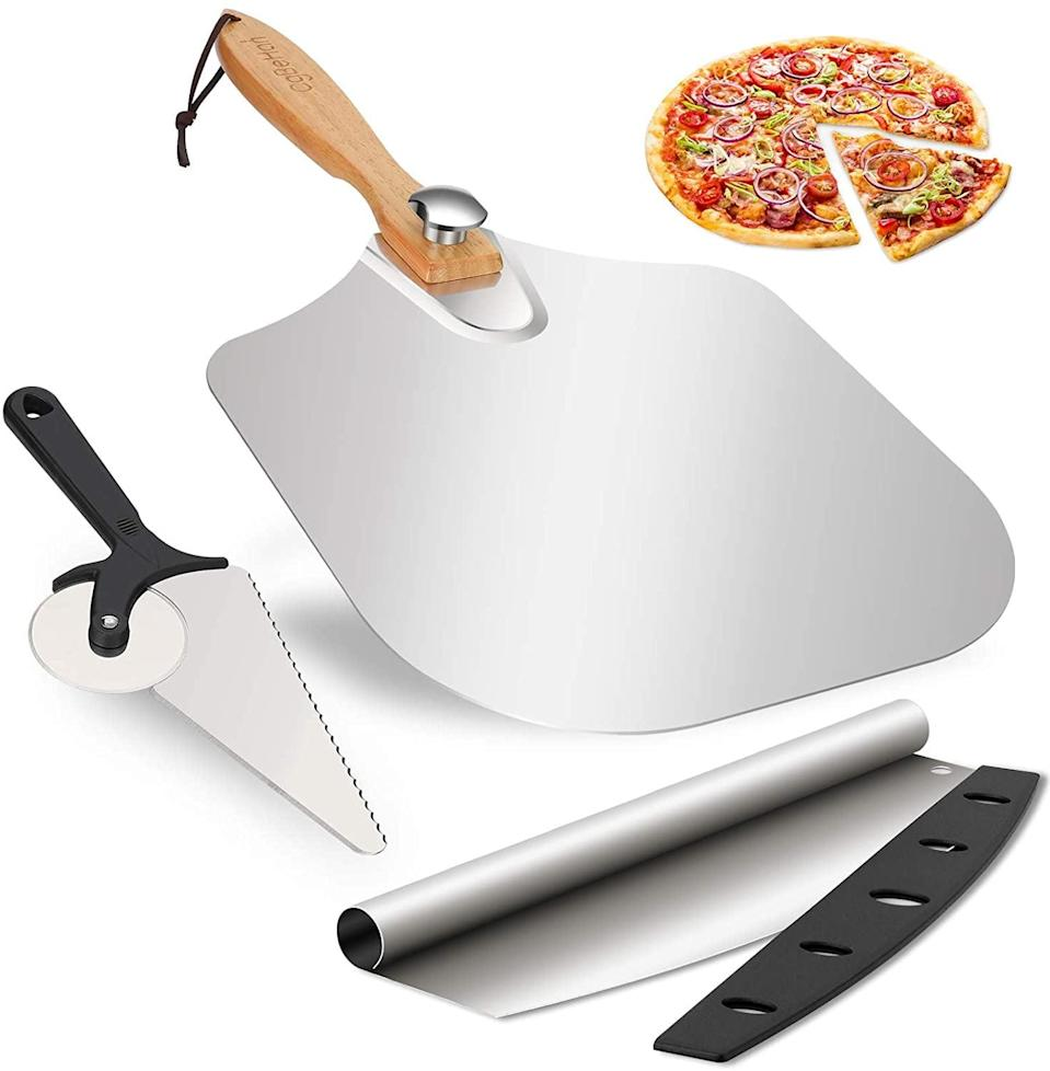 <p>Make the yummiest homemade pizzas with the <span>Aluminum Pizza Spatula Set with Foldable Screw Wood Handle and Pizza Spinner</span> ($14, originally $27). It comes with pizza slice cutters too!</p>