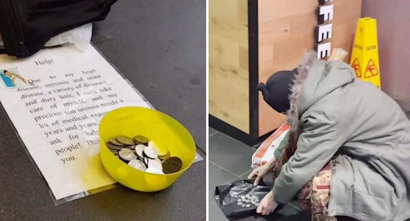 A bowl with coins and a message from the beggar. Another woman collects coins together as she is filmed.
