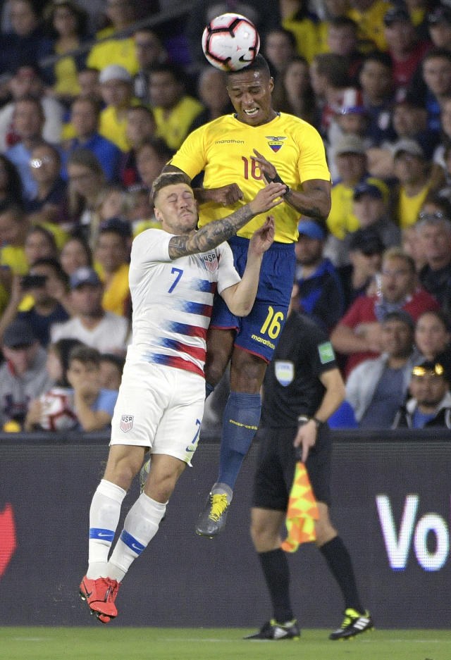 Ecuador midfielder Antonio Valencia (16) wins a header over United States midfielder Paul Arriola (7) during the first half of an international friendly soccer match Thursday, March 21, 2019, in Orlando, Fla. (AP Photo/Phelan M. Ebenhack)