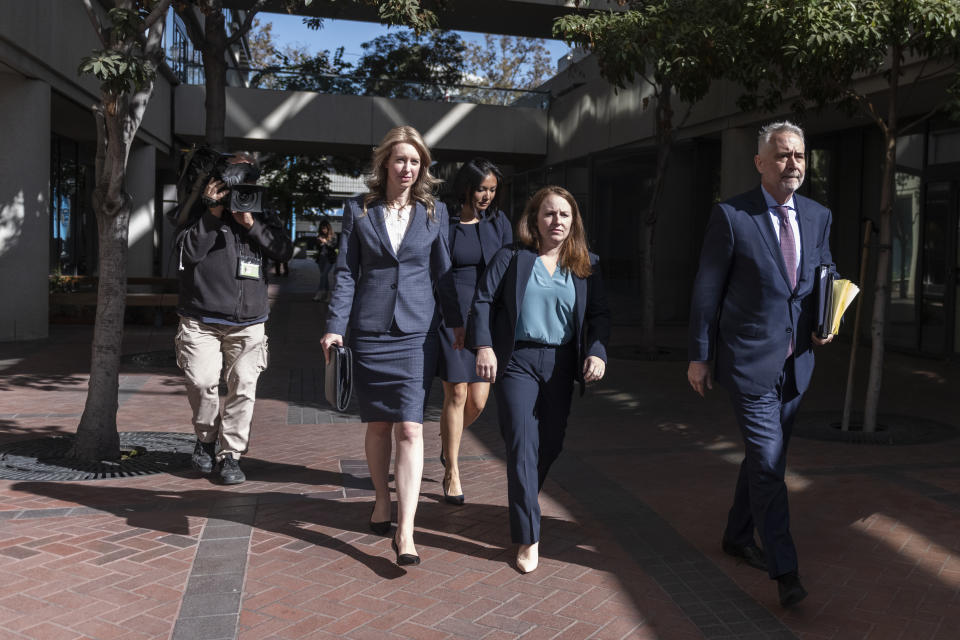 Elizabeth Holmes, founder and former CEO of Theranos, leaves after motion hearing on Monday, November 4, 2019, at the U.S. District Court House inside Robert F. Peckham Federal Building in San Jose, California. (Photo by Yichuan Cao/NurPhoto via Getty Images)