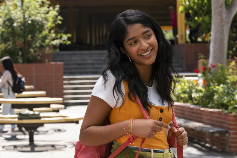 """This handout photo provided by Netflix shows Maitreyi Ramakrishnan as Devi Vishwakumar in a scene from """"Never Have I Ever."""" The series follows a first-generation Indian American teen navigating not only her culture and Hindu faith, but also raging hormones, commitment to excellence and explosive temper. (Lara Solanki/Netflix via AP)"""