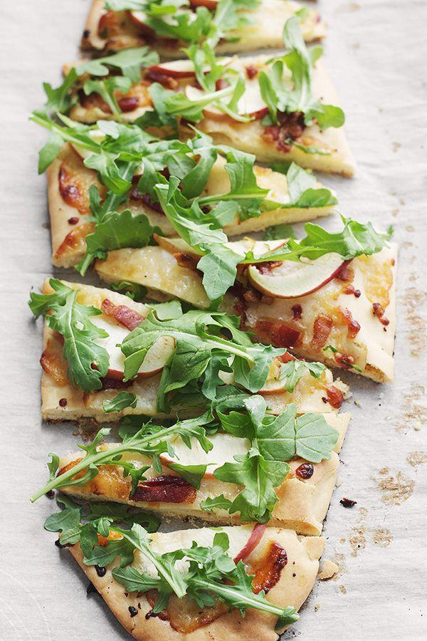 """<p>This flatbread is the perfect seasonal transition with summery arugula and fall apples.</p><p>Get the recipe at <a href=""""http://www.seasonsandsuppers.ca/cheddar-pancetta-apple-arugula-flatbread/"""" rel=""""nofollow noopener"""" target=""""_blank"""" data-ylk=""""slk:Seasons and Suppers"""" class=""""link rapid-noclick-resp"""">Seasons and Suppers</a>.</p>"""