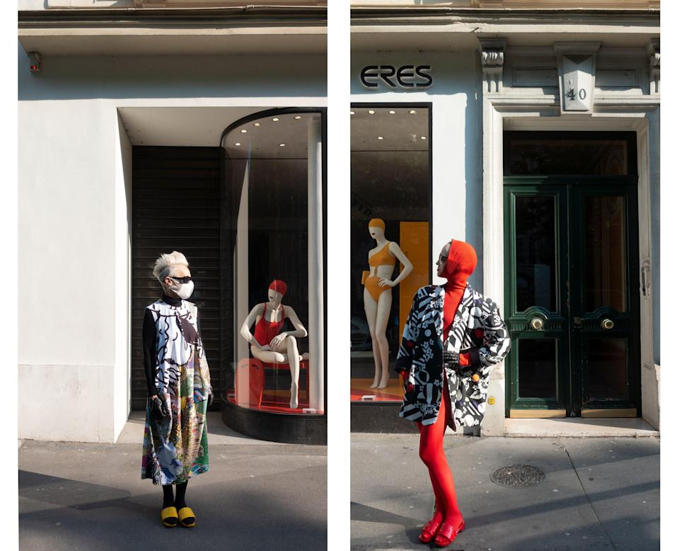 "<div class=""caption""> Wearing Comme des Garçons and a thrift store item in front of the Eres store. </div>"