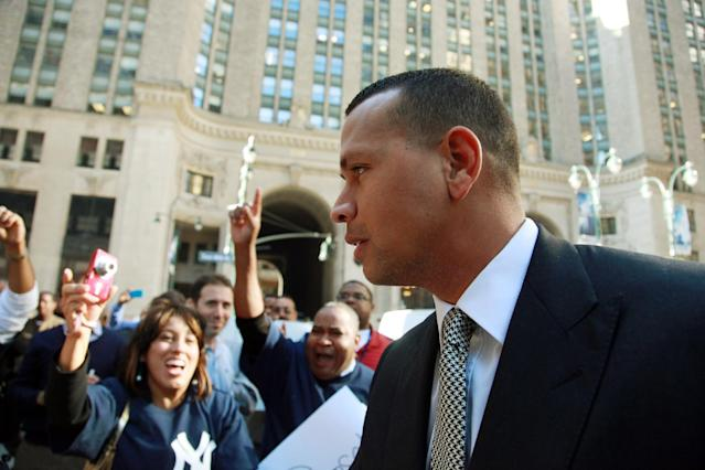FILE - Tuesday, Oct. 1, 2013 file photo, New York Yankees' Alex Rodriguez arrives at the offices of Major League Baseball, in New York. Rodriguez was back at Major League Baseball's office Monday, Nov. 18, 2013 for the resumption of the grievance hearing to overturn his 211-game suspension. Rodriguez was suspended for 211 games by MLB on Aug. 5 for alleged violations of the sport's drug agreement and labor contract, and the players' association filed the grievance to overturn the penalty. (AP Photo/David Karp, File)