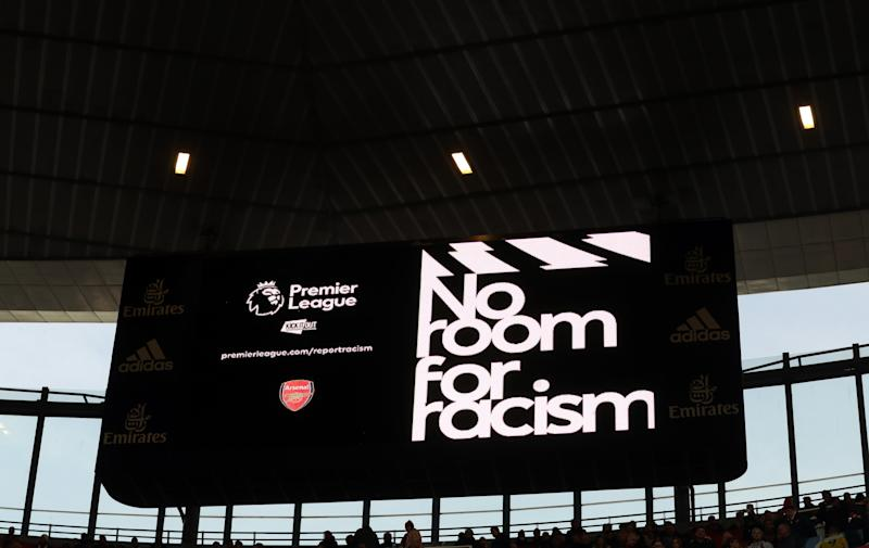 LONDON, ENGLAND - OCTOBER 27: No room for racism displayed on the big screen during the Premier League match between Arsenal FC and Crystal Palace at Emirates Stadium on October 27, 2019 in London, United Kingdom. (Photo by Catherine Ivill/Getty Images)