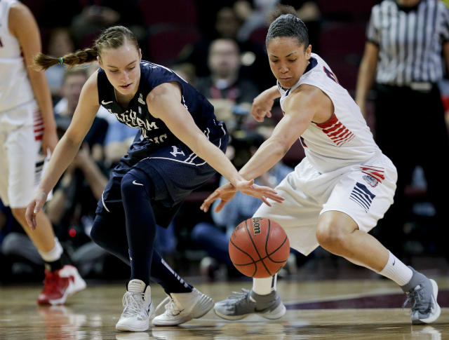 BYU's Lexi Eaton, left, scrambles for a loose ball against Gonzaga's Haiden Palmer in the first half of the NCAA West Coast Conference women's tournament championship college basketball game, Tuesday, March 11, 2014, in Las Vegas. (AP Photo/Julie Jacobson)