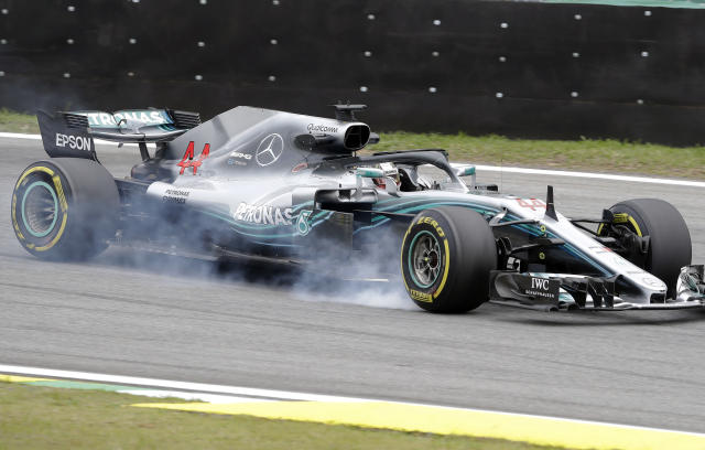 Mercedes driver Lewis Hamilton, of Britain, brakes hard during the second free practice at the Interlagos race track in Sao Paulo, Brazil, Friday, Nov. 9, 2018. Brazil will stage the Formula One Grand Prix's penultimate race of the season on Sunday. (AP Photo/Andre Penner)