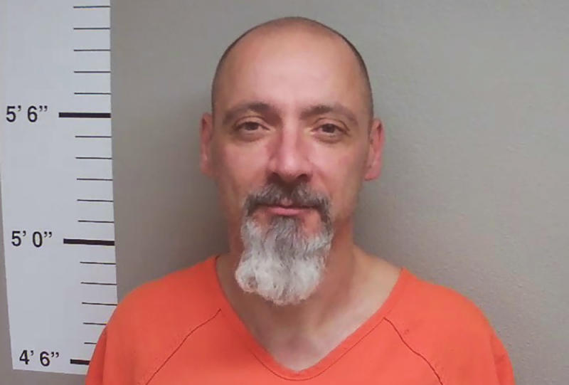 "This July 9, 2019 booking photo provided by the Cherokee County Sheriff's Office, shows Jeffrey Goodwin, 55, at the Cherokee County Jail in Cherokee, Iowa. Goodwin, who has been determined by the courts to be a sexually violent predator, became obsessed with a state psychologist who was later forced to resign for ""boundary violations."" (AP Photo/Cherokee County Sheriff's Office)"