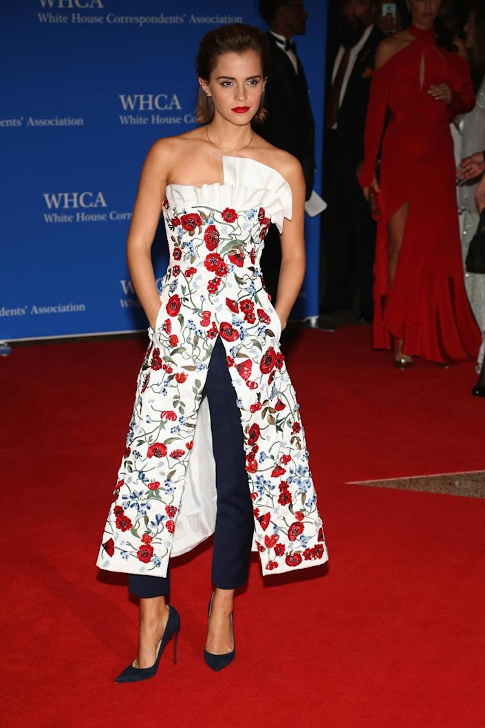 <p>Actress Emma Watson attends the 102nd White House Correspondents' Dinner, April 30. <i>(Photo: Paul Morigi/WireImage)</i></p>