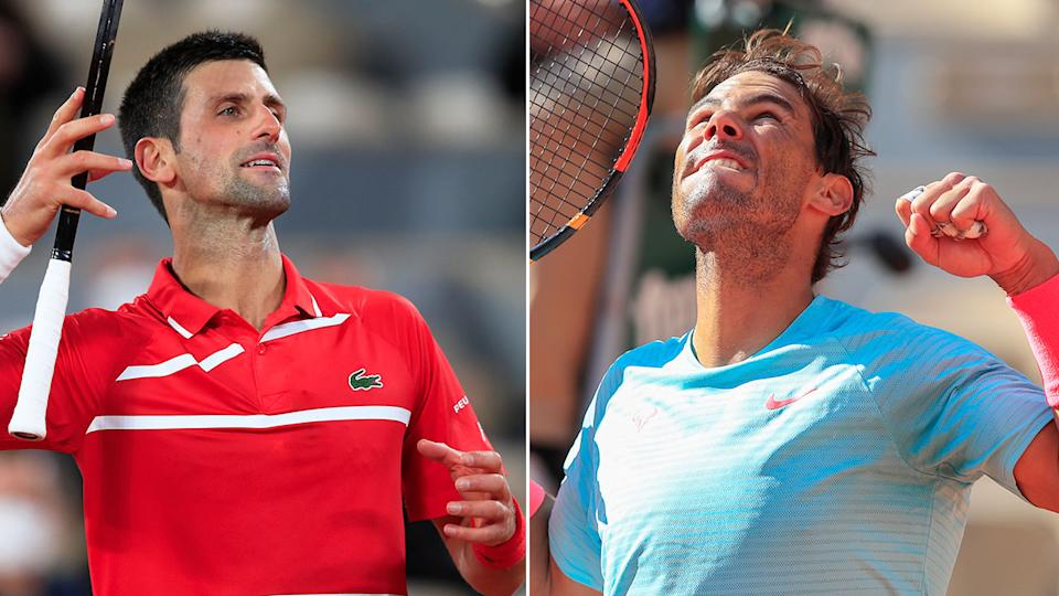 Novak Djokovic and Rafael Nadal are pictured here at the 2020 French Open.