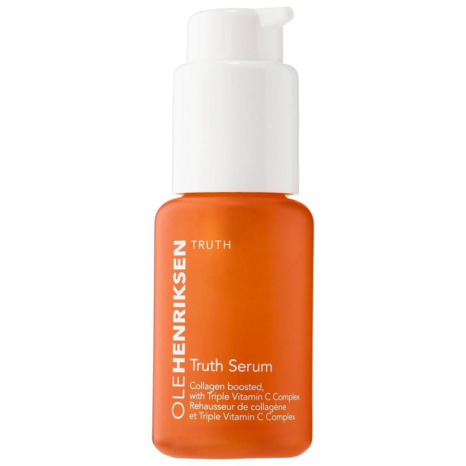 """<p><strong>OLEHENRIKSEN</strong></p><p>sephora.com</p><p><strong>$50.00</strong></p><p><a href=""""https://go.redirectingat.com?id=74968X1596630&url=https%3A%2F%2Fwww.sephora.com%2Fproduct%2Ftruth-serum-P42343&sref=https%3A%2F%2Fwww.oprahmag.com%2Fbeauty%2Fg28640232%2Fbest-vitamin-c-serums%2F"""" rel=""""nofollow noopener"""" target=""""_blank"""" data-ylk=""""slk:SHOP NOW"""" class=""""link rapid-noclick-resp"""">SHOP NOW</a></p><p>Professional makeup artist <a href=""""https://www.facebykase.com/"""" rel=""""nofollow noopener"""" target=""""_blank"""" data-ylk=""""slk:Kasey Adam Spickard"""" class=""""link rapid-noclick-resp"""">Kasey Adam Spickard</a> calls this vitamin C serum """"pure magic"""" for it's ability to reduce discoloration caused by acne. The fresh citrus scent is a nice bonus, too. </p>"""