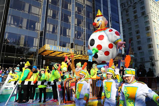 <p>Parade Day Mischief from Sour Patch Kids Candy makes its way down the parade route past Trump International in the 91st Macy's Thanksgiving Day Parade in New York, Nov. 23, 2017. This is its first appearance in the Macy's parade. (Photo: Gordon Donovan/Yahoo News) </p>
