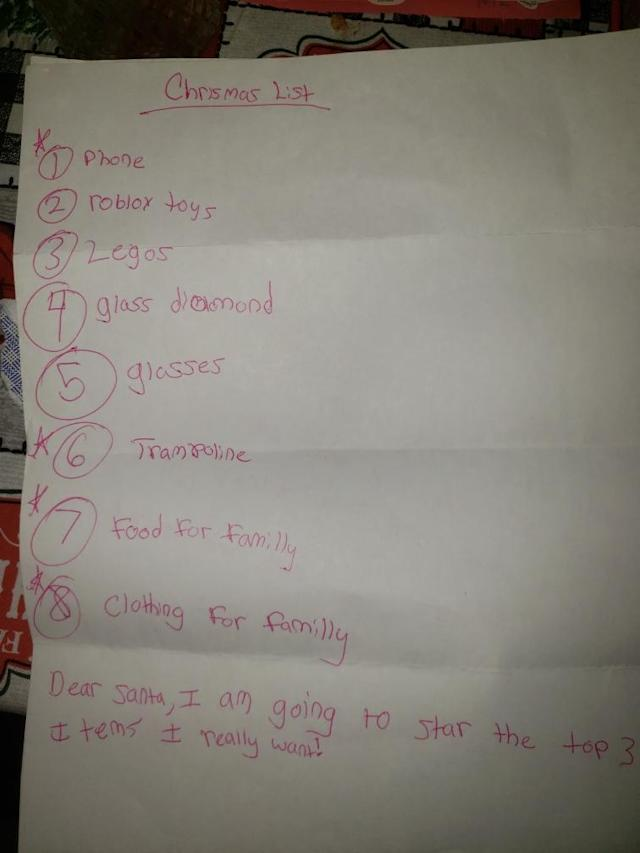 A child's letter addressed to Santa broke a mail carrier's heart, so she fulfilled the wishlist. (Photo: Courtesy of Melissa Stinsman)