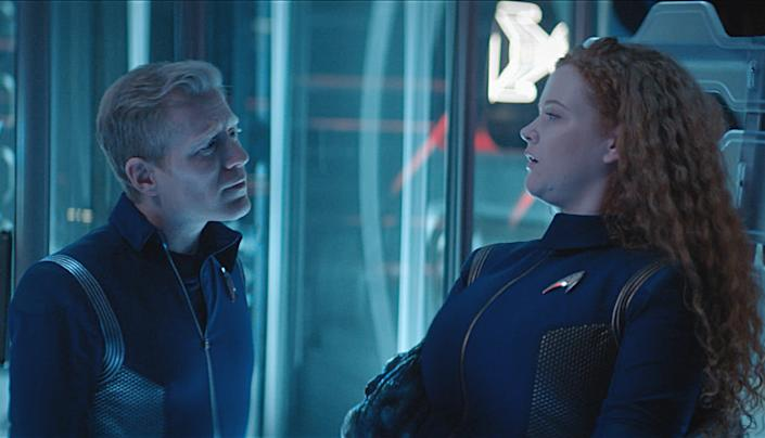 Lt. Stamets (Anthony Rapp) converses with an interdimensional blob currently inhabiting Cadet Tilly. <cite>CBS</cite>