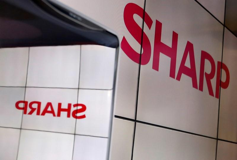 A logo of Sharp Corp is pictured at CEATEC JAPAN 2016 at the Makuhari Messe in Chiba
