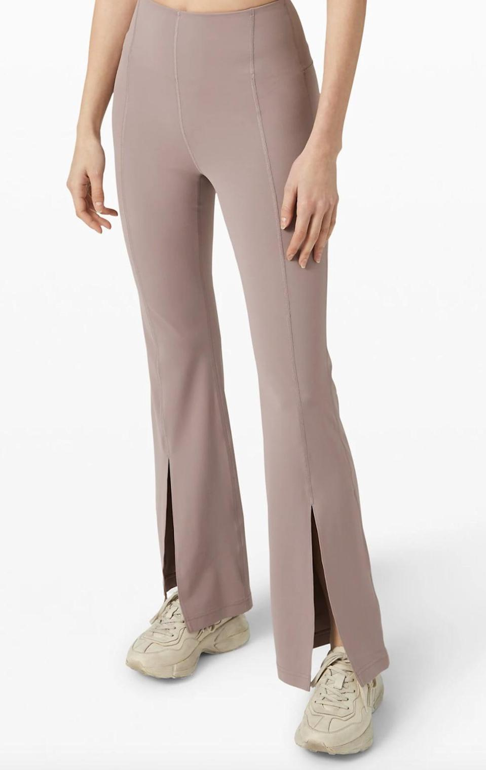 <p>The <span>Lululemon In the Groove Flare Pants</span> ($118) put a new twist on this athleisure staple with a striking slit at the bottom of each leg.</p>